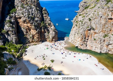 Aerial view Sa Calobra, Torrent de Pareis gorge, Serra de Tramuntana, Mallorca, Balearic Islands, Spain,