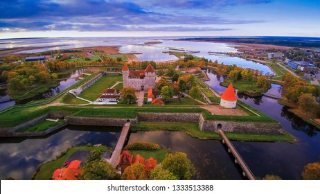 Aerial view of the Saaremaa city with the castle in the middle. It is the Kuressaare castle one of the tourist spots in the city