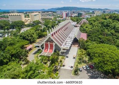 aerial view of Sabah State Museum at Kota Kinabalu City, Sabah, Malaysia.
