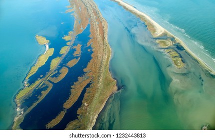 aerial view of Sacalin Island, newly formed in the Black Sea near Sfantu Gheorghe, Romania