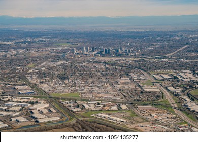 Aerial view of the Sacramento downtown from an airplane