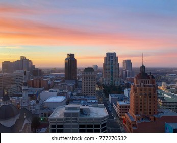 Aerial View of Sacramento Downtown late afternoon