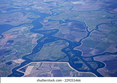 An aerial view of the Sacramento - San Joaquin River Delta, California, USA