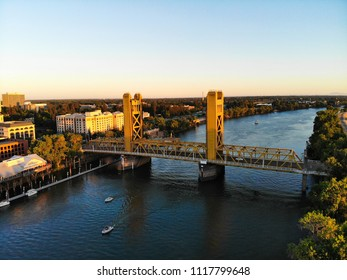 Aerial View of Sacramento Tower Bridge