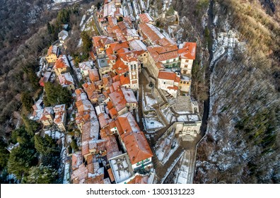 Aerial view of Sacro Monte of Varese, is a sacred mount is a historic pilgrimage site and Unesco World Heritage, Varese, Lombardy, Italy