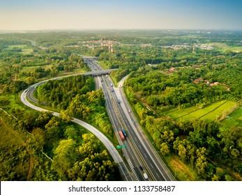Aerial View of Sadang Interchange, Cipularang Toll Road, Purwakarta, West Java, Indonesia, Asia
