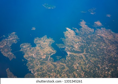Aerial view of Saga Prefecture with Kabe Island view from a windows seat while siting on an airplane, Japan