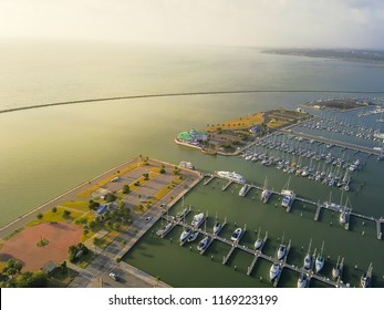 Aerial view sailboat is moored at the quay, yacht parking in Corpus Christi bay front area. Top pier speedboat in marina lot filled full row of boat. Travel and recreation background