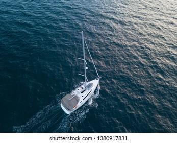aerial view of sailboat sailing