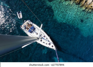 Aerial view of sailboat yacht charter on adriatic sea, croatia islands