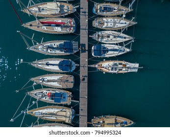 Aerial view of sailboats and moored boats. Boats moored in the port of Vibo Marina, quay, pier. 07/06/2017. Calabria. Italy