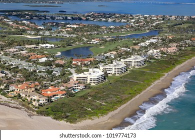 Aerial view of Sailfish Point in Stuart, Florida, an upscale community on the Treasure Coast.