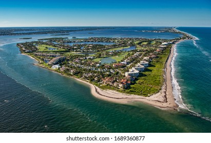 aerial view of sailfish point waterfront community on hutchinson island, florida
