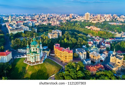 Aerial view of Saint Andrews church and Andriyivskyy Descent, cityscape of Podil. Kiev, the capital of Ukraine