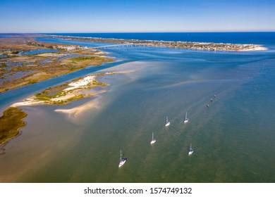Aerial view Saint Augustine where canal meets the sea