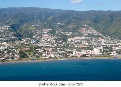 Aerial view of Saint Denis capital of Reunion island