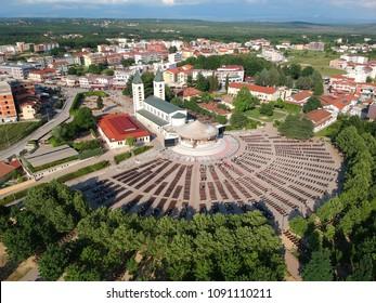Aerial view of the Saint James Church (Crkva Svetog Jakova) in Medjugorje, Bosnia and Herzegovina