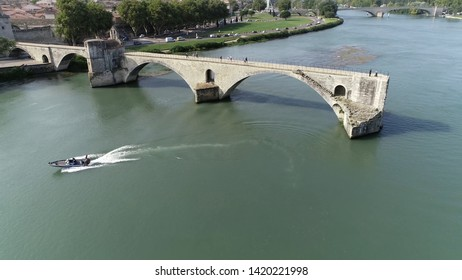 Aerial view of Saint Bénézet also known as the Pont d'Avignon is a famous medieval bridge over the Rhone in the town of Avignon in southern France and a popular tourist attraction