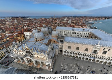 "Aerial view of Saint Mark's Square in Venice Italy. It is the principal public square of Venice, Italy, where it is generally known just as la Piazza (""the Square"")."