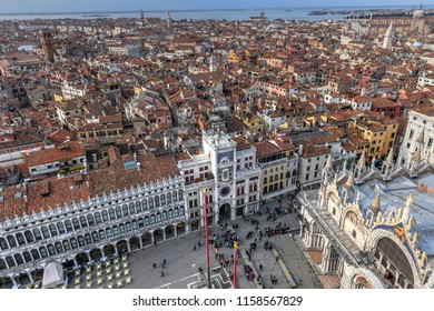 """Aerial view of Saint Mark's Square in Venice Italy. It is the principal public square of Venice, Italy, where it is generally known just as la Piazza (""""the Square"""")."""