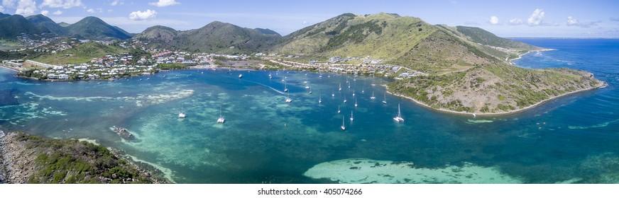 Aerial view of Saint Martin Beach: Best St Martin Beaches in Caribbean from the sky, Aerial views