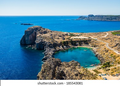 Aerial View at Saint Paul Bay from Lindos  Rhodes island, Greece.