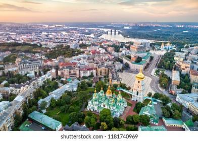 Aerial view of Saint Sophia Cathedral in Kiev, Ukraine