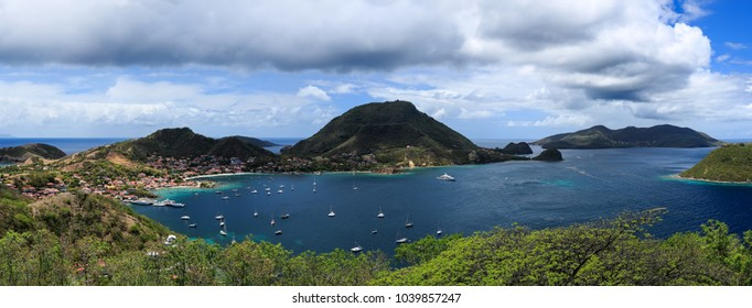 Aerial view of the Saintes islands nearby Guadeloupe island in the Caribbean, spring 2015