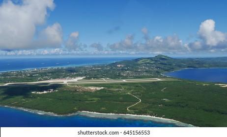 Aerial view, Saipan International Airport Aerial view of Saipan coastlines and Saipan International Airport, Northern Mariana Islands