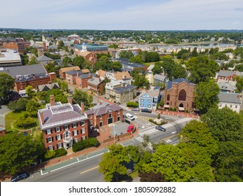 Aerial view of Salem historic city center including Salem Witch Museum and Andrew Safford House in city of Salem, Massachusetts MA, USA.