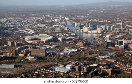 aerial view of Salford and Old Trafford, Manchester, UK
