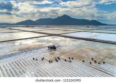 Aerial view of salt field at Hon Khoi, Nha Trang, Vietnam.
