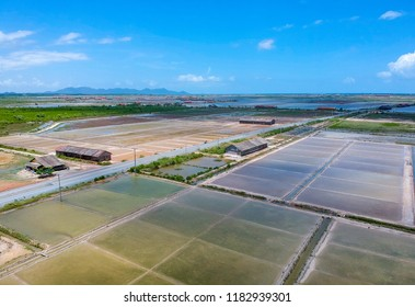 Aerial view of the salt fiels in Kampot - Cambodia