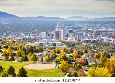 Aerial view of the Salt Lake City downtown in autumn, Utah, USA.