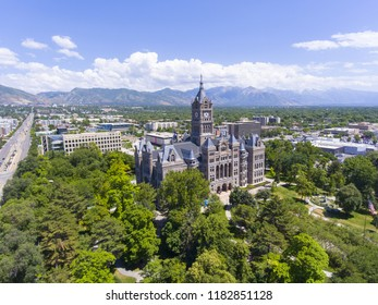 Aerial view of Salt Lake City and County Building in Salt Lake City, Utah, USA. This building was built in 1894 with Richardsonian Romanesque style. Now it is served as the city hall of Salt Lake City