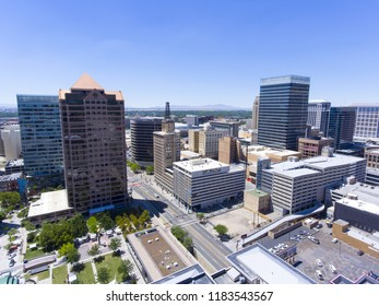 Aerial view of Salt Lake City downtown in Salt Lake City, Utah, USA.