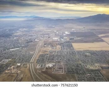 Aerial view of Salt Lake City, Utah, United States of America.