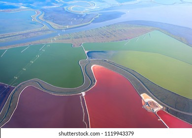 Aerial view of Salt Ponds in Don Edwards. San Francisco Bay National Wildlife Refuge. California. USA usa,