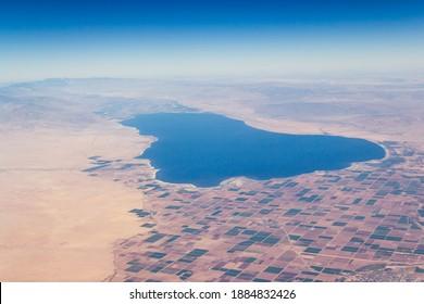 The aerial view of Salton Sea in California, USA