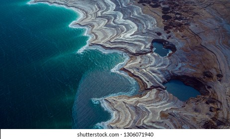 Aerial View to the Salty Dead Sea Side near the Ein Gedi, Israel