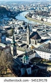 Aerial view of Salzburg city center and Salzach river, Austria