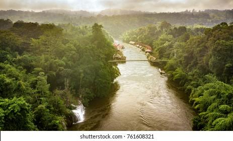 Aerial view of Sam Yok Yai national park on the Kwai river, Kanchanaburi, Thailand