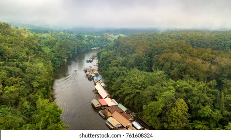 Aerial view of Sam Yok Yai national park with floating homestay on the Kwai river, Kanchanaburi, Thailand