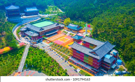 Aerial view of Samgwangsa temple in Busan city of South Korea. Thousands of paper lanterns decorate Samgwangsa Temple in Busan city of South Korea for Buddha's Birthday.