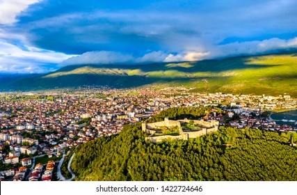 Aerial view of Samuel's Fortress at Ohrid in North Macedonia