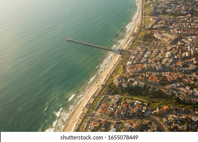 Aerial view of the San Clemente, California skyline featuring the San Clemente Pier.