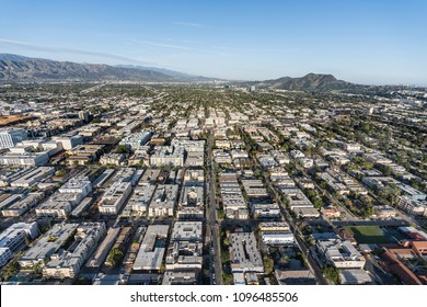 Aerial view of San Fernando Valley homes, apartments and streets in the North Hollywood neighborhood of Los Angeles, California.