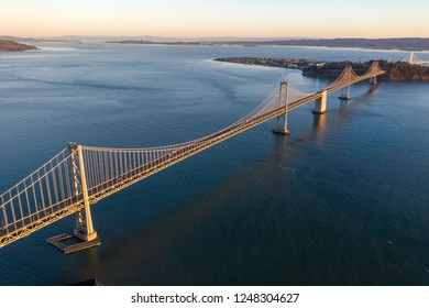 Aerial view of the San Francisco Bay Bridge at Sunrise