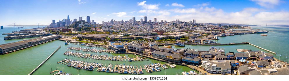 Aerial view of the San Francisco downtown by the San Francisco bay and Pier 39.