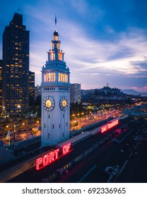 Aerial view of San Francisco Ferry Building at Night